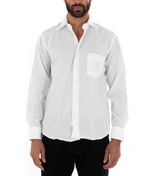 Camicia Uomo Maniche Lunghe Basic Regular Fit Tinta Unita Bianca Casual Tasca GIOSAL