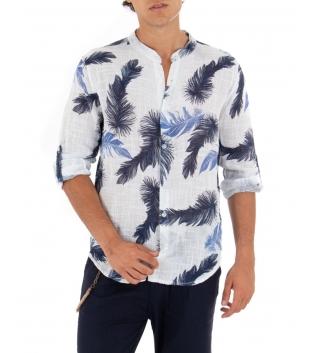 Camicia Uomo Maniche Lunghe Fantasia Palme Bianco Collo Coreano GIOSAL