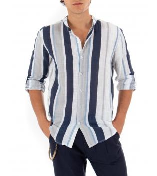 Camicia Uomo Maniche Lunghe Fantasia Rigata Bianca Blu Collo Coreano GIOSAL
