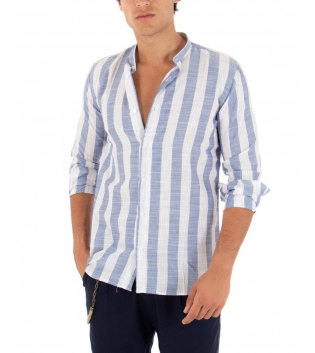 Camicia Uomo Rigata Blu Collo Coreano Paul Barrell Sartoriale GIOSAL