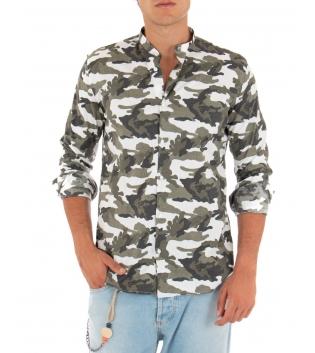 Camicia Uomo Mimetica Collo Coreano Sartoriale Paul Barrell Casual GIOSAL