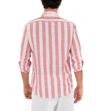 Camicia Uomo Rigata Rossa Colletto Paul Barrell Sartoriale Casual GIOSAL