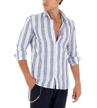 Camicia Uomo Rigata Blu Colletto Paul Barrell Sartoriale Casual GIOSAL