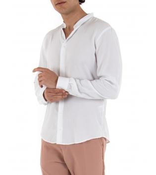 Camicia Uomo Maniche Lunghe Comfy Viscosa Tinta Unita Bianco GIOSAL