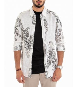Camicia Uomo Maniche Lunghe Fantasia Foglie Fondo Bianco Lino GIOSAL