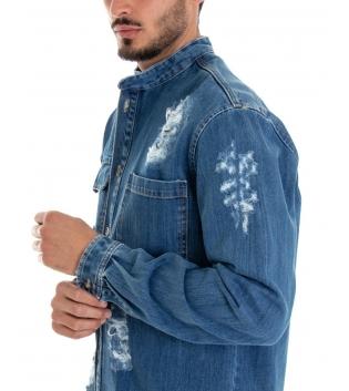 Camicia Uomo Jeans Denim Rotture Collo Coreano Tasche Cotone GIOSAL