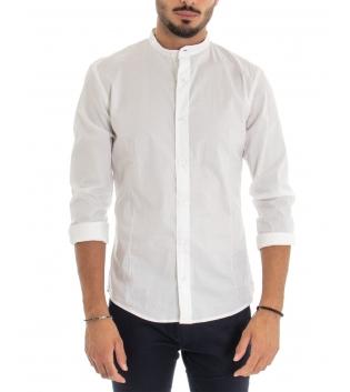Camicia Uomo Maniche Lunghe Tinta Unita Bianca Collo Coreano Cotone Casual GIOSAL