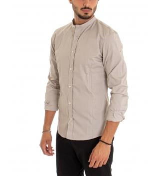 Camicia Uomo Maniche Lunghe Tinta Unita Beige Collo Coreano Cotone Casual GIOSAL