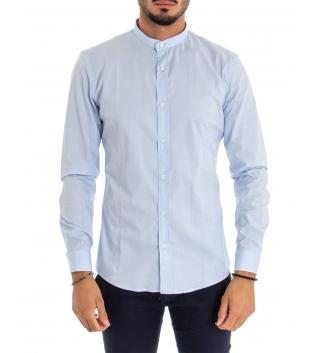 Camicia Uomo Maniche Lunghe Tinta Unita Celeste Collo Coreano Cotone Casual GIOSAL