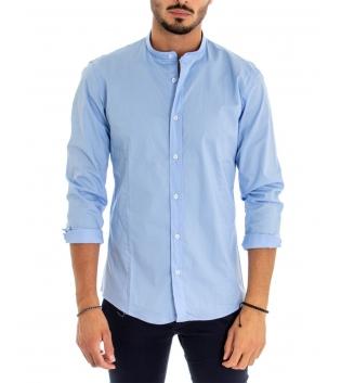 Camicia Uomo Maniche Lunghe Tinta Unita Azzurro Collo Coreano Cotone Casual GIOSAL