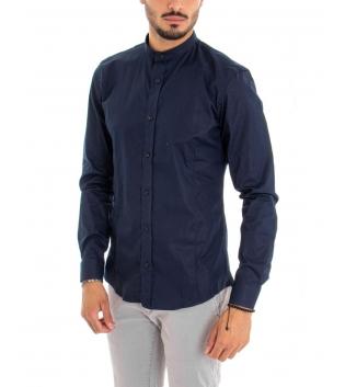 Camicia Uomo Maniche Lunghe Tinta Unita Blu Collo Coreano Cotone Casual GIOSAL