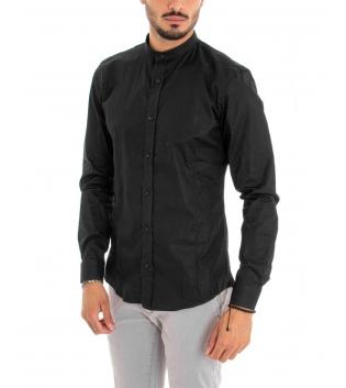 Camicia Uomo Maniche Lunghe Tinta Unita Nera Collo Coreano Cotone Casual GIOSAL