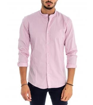 Camicia Uomo Maniche Lunghe Tinta Unita Rosa Collo Coreano Cotone Casual GIOSAL