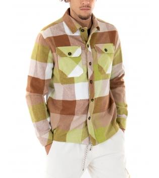 Camicia Uomo Manica Lunga Quadri Multicolore Colletto Casual GIOSAL