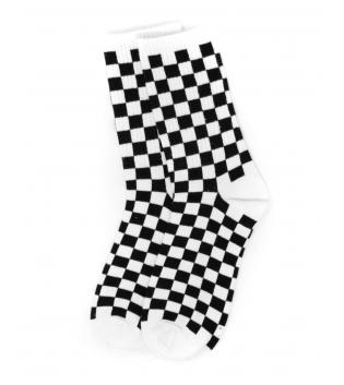 Calzini Unisex Calze Bicolore Quadretti Bianco Nero Taglia Unica Casual Socks GIOSAL