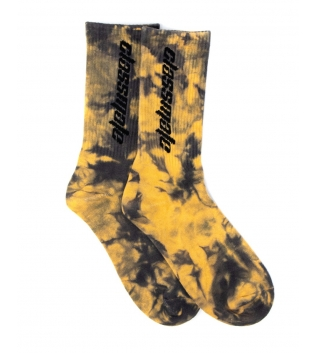 Calzini Unisex Calze Giallo Nero Tie Dye Stampa Socks Casual GIOSAL