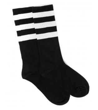 Calzini Unisex Calze Socks Nero Riga Bianca Caviglia Casual Basic GIOSAL