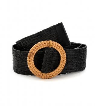 Cintura Donna Intrecciata Nero Fibbia Rotonda Paglia Accessori GIOSAL