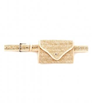Cintura Donna Marsupio Paglia Tinta Unita Beige Accessori GIOSAL