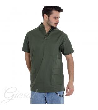Camicia Uomo Manica Corto Collo Coreano Tinta Unita Vari Colori Tasche GIOSAL CC1040A-Verde-S