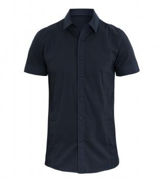Camicia Uomo Colletto Maniche Corte Slim Fit Tinta Unita Blu Mezze Maniche GIOSAL