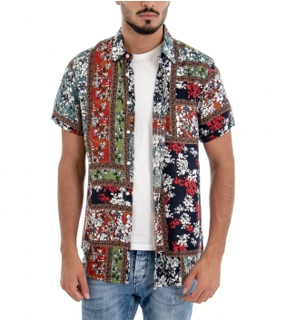 Camicia Uomo Mezze Maniche Colletto Fantasia Floreale Multicolore Regular Fit GIOSAL