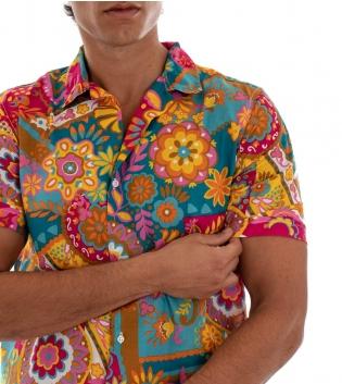 Camicia Uomo Maniche Corte Cotone Fantasia Multicolore Colletto GIOSAL