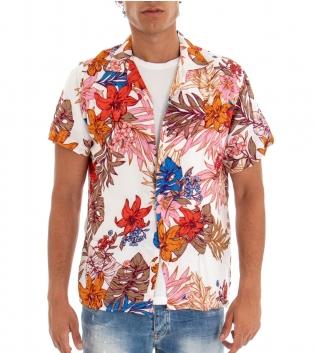 Camicia Uomo Maniche Corte con Colletto a V Fantasia Floreale Multicolore Fondo Bianco GIOSAL