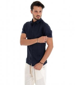 Camicia Uomo Maniche Corte Colletto Lino Tinta Unita Blu GIOSAL