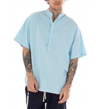 Camicia Uomo Maniche Corte Tinta Unita Celeste Collo Coreano Casual GIOSAL