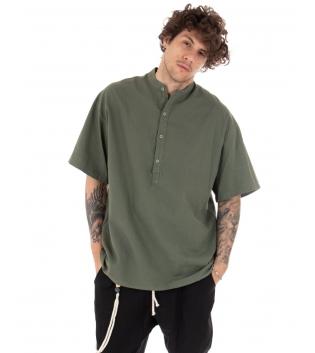 Camicia Uomo Maniche Corte Tinta Unita Verde Collo Coreano Casual GIOSAL-Verde-S