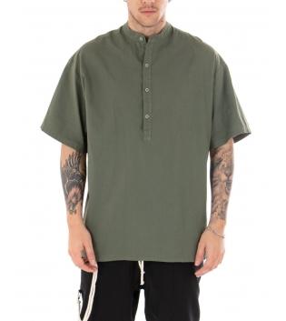 Camicia Uomo Maniche Corte Tinta Unita Verde Collo Coreano Casual GIOSAL