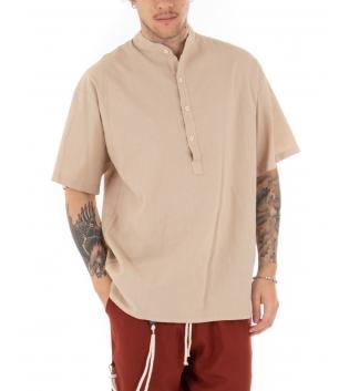 Camicia Uomo Maniche Corte Tinta Unita Beige Collo Coreano Casual GIOSAL