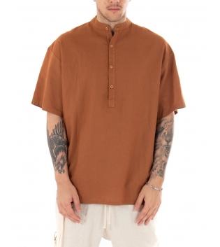 Camicia Uomo Maniche Corte Tinta Unita Camel Collo Coreano Casual GIOSAL