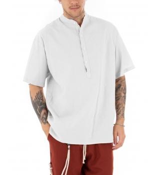 Camicia Uomo Maniche Corte Tinta Unita Bianca Collo Coreano Casual GIOSAL