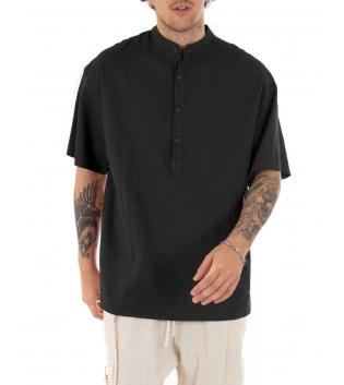 Camicia Uomo Maniche Corte Tinta Unita Nera Collo Coreano Casual GIOSAL