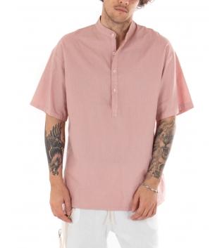 Camicia Uomo Maniche Corte Tinta Unita Rosa Collo Coreano Casual GIOSAL