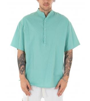 Camicia Uomo Maniche Corte Tinta Unita Verde Acqua Collo Coreano Casual GIOSAL