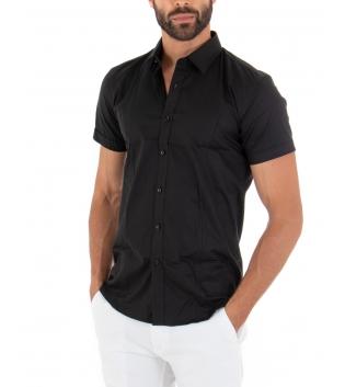 Camicia Uomo Slim Fit Colletto Classico Maniche Corte Tinta Unita Nera GIOSAL