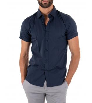 Camicia Uomo Slim Fit Colletto Classico Maniche Corte Tinta Unita Blu GIOSAL