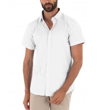 Camicia Uomo Slim Fit Colletto Classico Maniche Corte Tinta Unita Bianco GIOSAL