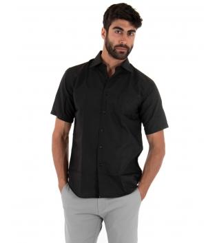 Camicia Uomo Regular Fit Colletto Classico Maniche Corte Tinta Unita Nera GIOSAL