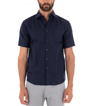 Camicia Uomo Regular Fit Colletto Classico Maniche Corte Tinta Unita Blu GIOSAL