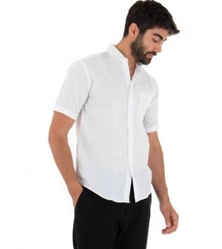 Camicia Uomo Regular Fit Colletto Classico Maniche Corte Tinta Unita Bianco GIOSAL