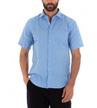 Camicia Uomo Regular Fit Colletto Classico Maniche Corte Tinta Unita Celeste GIOSAL