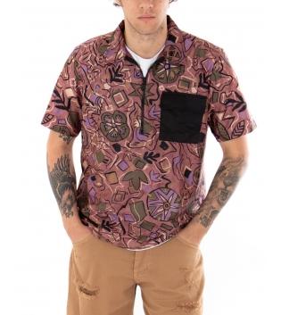 Camicia Uomo T-shirt Fantasia Etnica Multicolore Scollo Cerniera GIOSAL