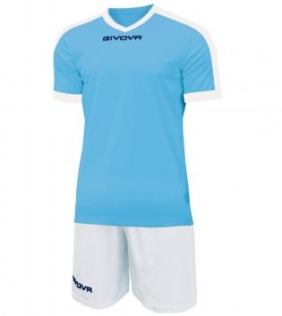 Kit Revolution Calcio Sport GIVOVA Abbigliamento Sportivo Uomo Calcistico GIOSAL-Celeste-Bianco-4XS