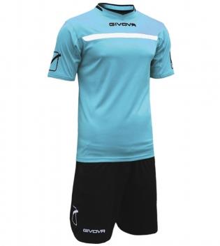 Kit One Calcio GIVOVA Uomo Sport Uomo Bambino Abbigliamento Sportivo Calcistico GIOSAL-Celeste/Nero-2XS