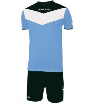 Kit Calcio GIVOVA Campo Completino Football Sport Sportivo Uomo Bambino GIOSAL-Celeste/Nero-3XS