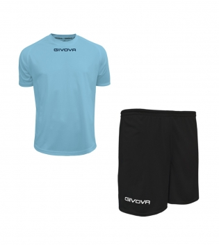 Outfit Givova Completo Pantaloncini T-Shirt Givova One Celeste Nero Uomo Donna Bambino GIOSAL